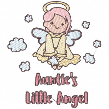 Auntie's Little Angel - Little Angels Typography #04 Machine Embroidery Design