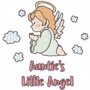 Harmonious Auntie's Little Angel - Little Angels Typography #12 Machine Embroidery Design