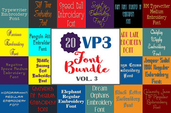 20 VP3 Font Bundle - Volume 3 - 20 Husqvarna Viking Machine Embroidery Fonts