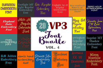 20 VP3 Font Bundle - Volume 4 - 20 Husqvarna Viking Machine Embroidery Fonts