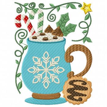 Snowflake Drink - Christmas Hot Drinks #06 Machine Embroidery Design