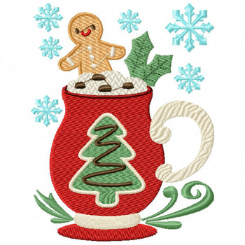 Christmas Tree Drink - Christmas Hot Drinks #03 Machine Embroidery Design
