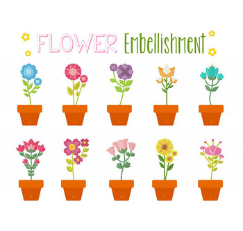 Flower Embellishment Collection of 10 Machine Embroidery Designs
