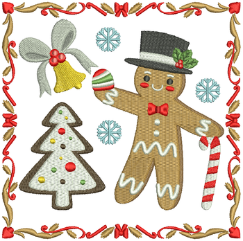 Mr. Ginger Bread Man - Ginger Breads #07 Machine Embroidery Design