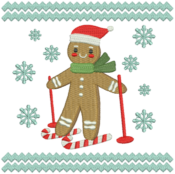 Skiing Ginger Bread - Ginger Breads #09 Machine Embroidery Design