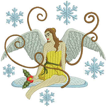 Pretty in Yellow Angel - Christmas Angel #05 Machine Embroidery Design