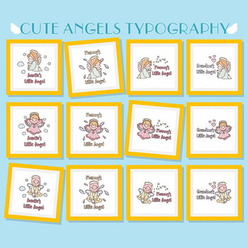 Cute Angels Typography Collection of 12 Machine Embroidery Designs