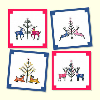 Christmas Reindeer Collection of 4 Machine Embroidery Designs