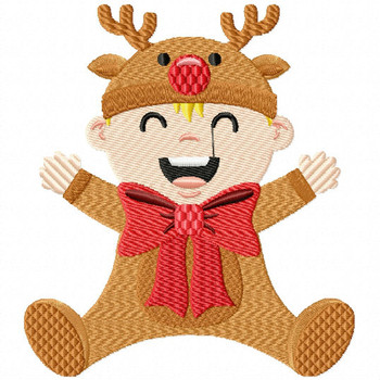 Happy Baby in Reindeer Costume   - Christmas Baby #02 Machine Embroidery Design
