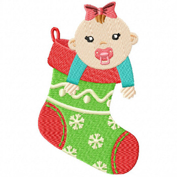 Stocking Baby - Christmas Baby #05 Machine Embroidery Design