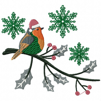 Christmas Robin #01 Machine Embroidery Design