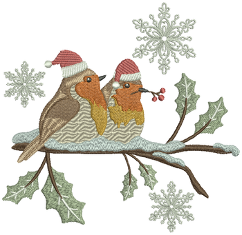 Christmas Robin #02 Machine Embroidery Design