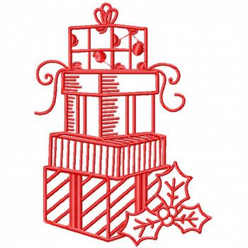 Christmas Gifts - Christmas Redwork #03 Machine Embroidery Design
