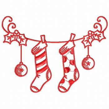 Christmas Stockings - Christmas Redwork #04 Machine Embroidery Design
