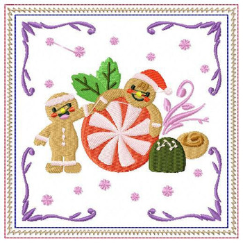 Ginger Bread Mug Rug #04 In The Hoop Machine Embroidery Design