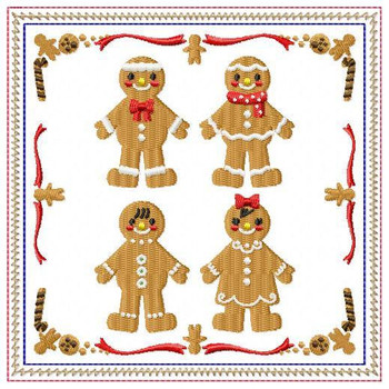 Ginger Bread Mug Rug #06 In The Hoop Machine Embroidery Design