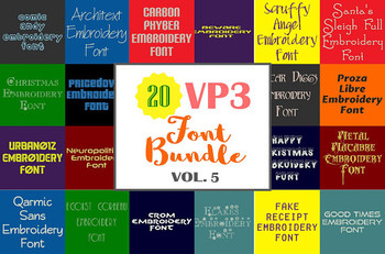 20 VP3 Font Bundle - Volume 5 - 20 Husqvarna Viking Machine Embroidery Fonts