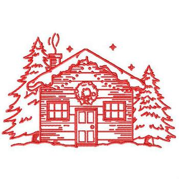 Christmas House - Christmas Redwork #07 Machine Embroidery Design