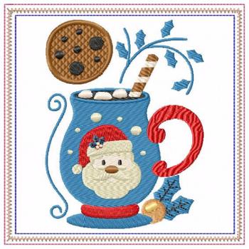 Mug Rug Santa's Mallow Hot Drink #02 In The Hoop Machine Embroidery Design
