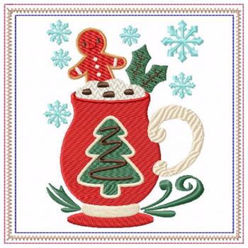 Mug Rug Christmas Tree Hot Drink #03 In The Hoop Machine Embroidery Design