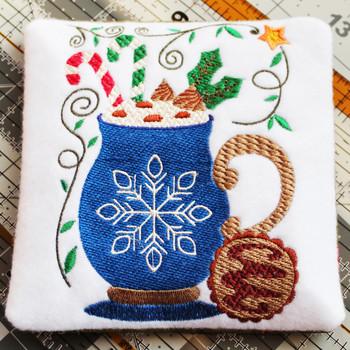 Mug Rug Snowflake Hot Drink #06 In The Hoop Machine Embroidery Design