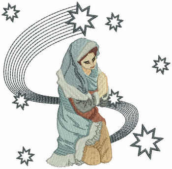 Mary Praying - Religious Christmas #01 Machine Embroidery Design