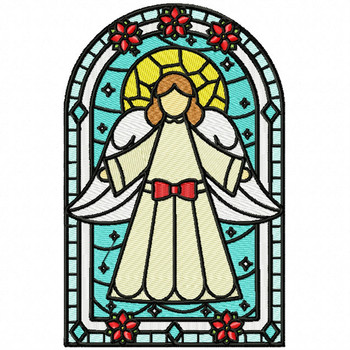 Christmas Angel Glass - Stained Glass #02 Machine Embroidery Design