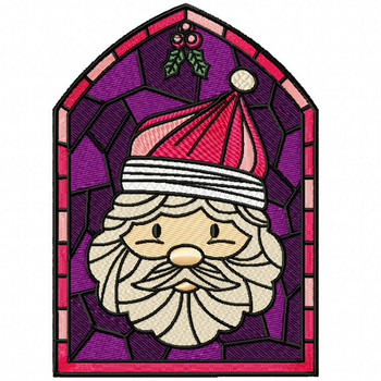 Santa Claus Glass - Stained Glass #05 Machine Embroidery Design
