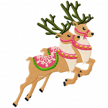 Couple Reindeer 2 - North Pole Character #06 Machine Embroidery Design