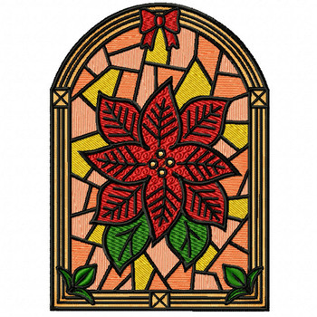 Poinsettia Flower Glass - Stained Glass #08 Machine Embroidery Design