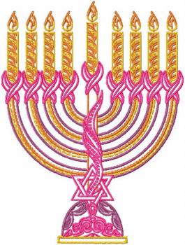 Menora - Pink Chanukah - Hanukkah #02 Machine Embroidery Design