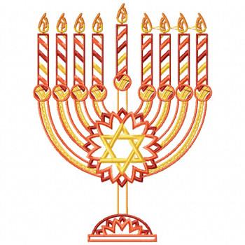 Menora - Orange Chanukah - Hanukkah #04 Machine Embroidery Design