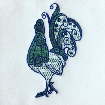 Rooster Machine Embroidery Design Stitched