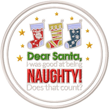 Good at Being Naughty - Humor Christmas Patch #08 Machine Embroidery Design
