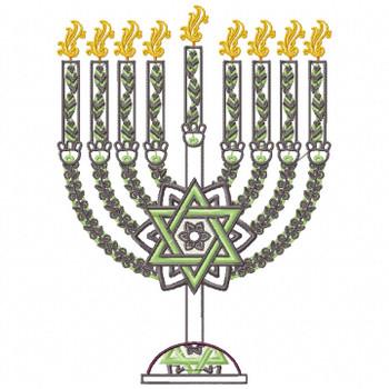 Green Chanukah - Hanukkah #06 Machine Embroidery Design