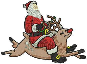 Santa Riding Reindeer - Humor Christmas #02 Machine Embroidery Design