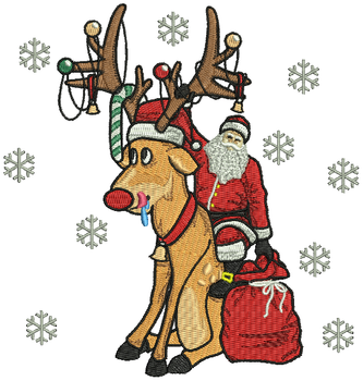 Santa with Rudolph - Humor Christmas #04 Machine Embroidery Design