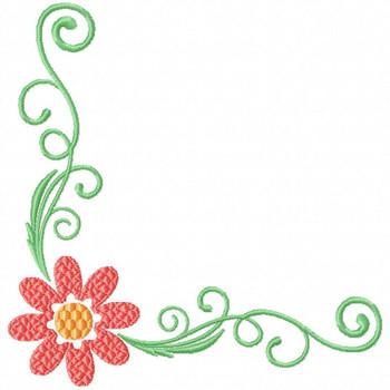 Daisy Corner Pattern - Flower #02 Machine Embroidery Design