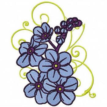Blue Floral - Flower #09 Machine Embroidery Design