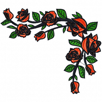 Detailed Rose Pattern Collection #12 Machine Embroidery Design