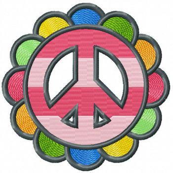 Rainbow Peace Sign - Psychedelic 60's Machine Embroidery Design