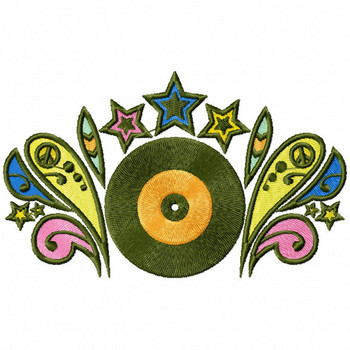 Vinyl Record - Psychedelic 60's Machine Embroidery Design