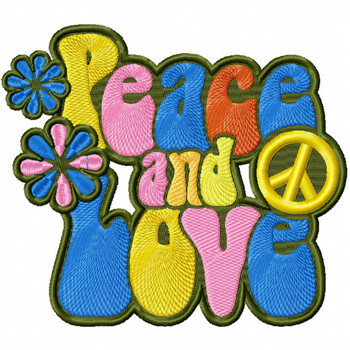 Hippie Peace and Love - Psychedelic 60's #12 Machine Embroidery Design