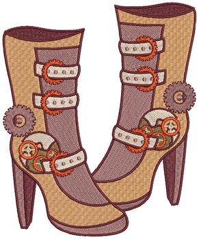 Steampunk Boots - Machine Embroidery Design - Steampunk Collection #14