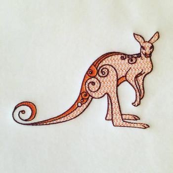 Kangaroo Machine Embroidery Design Stitched