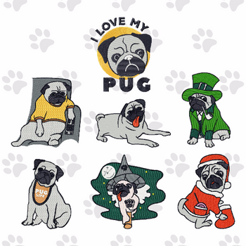 Pug Collection of 7 Machine Embroidery Designs