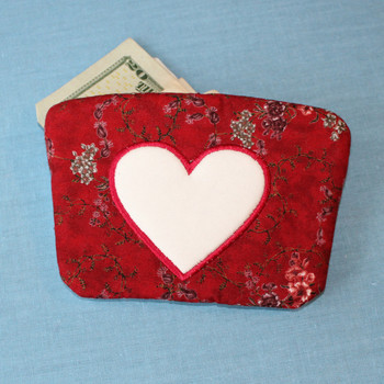 Love Heart Small Money Purse - In The Hoop Machine Embroidery Design