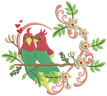 Love Birds #02 Machine Embroidery Design