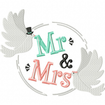 Mr & Mrs. - Wedding Typography #04 Machine Embroidery Design