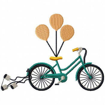 Bike with Balloons - Cycling Hobby Collection #04 - Machine Embroidery Design